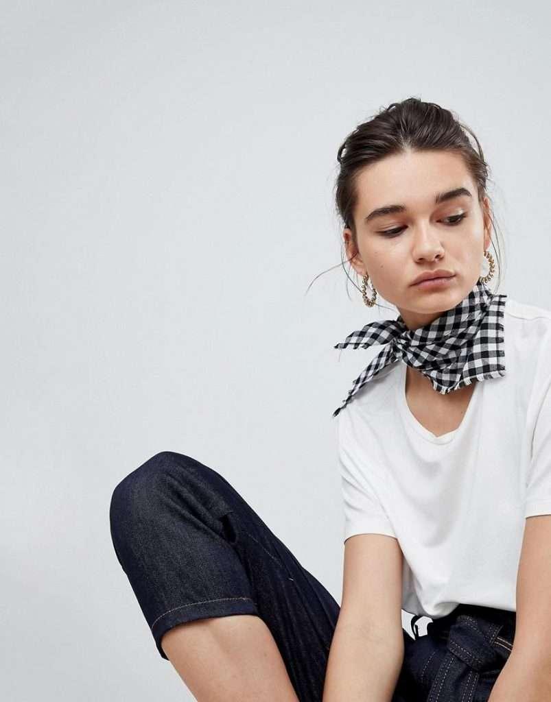 asos black and white gingham neckerchief