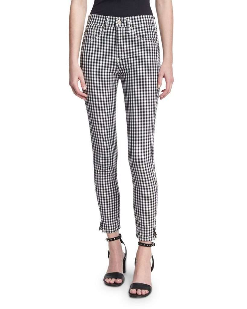black and white gingham trouser