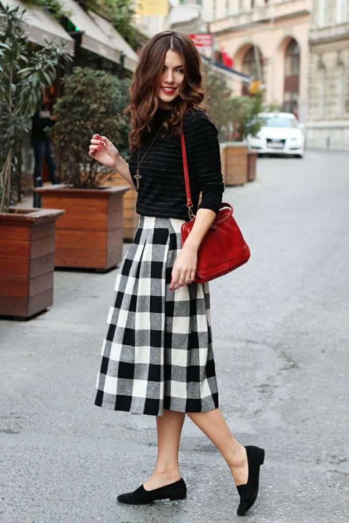 black white buffalo plaid mini skirt style