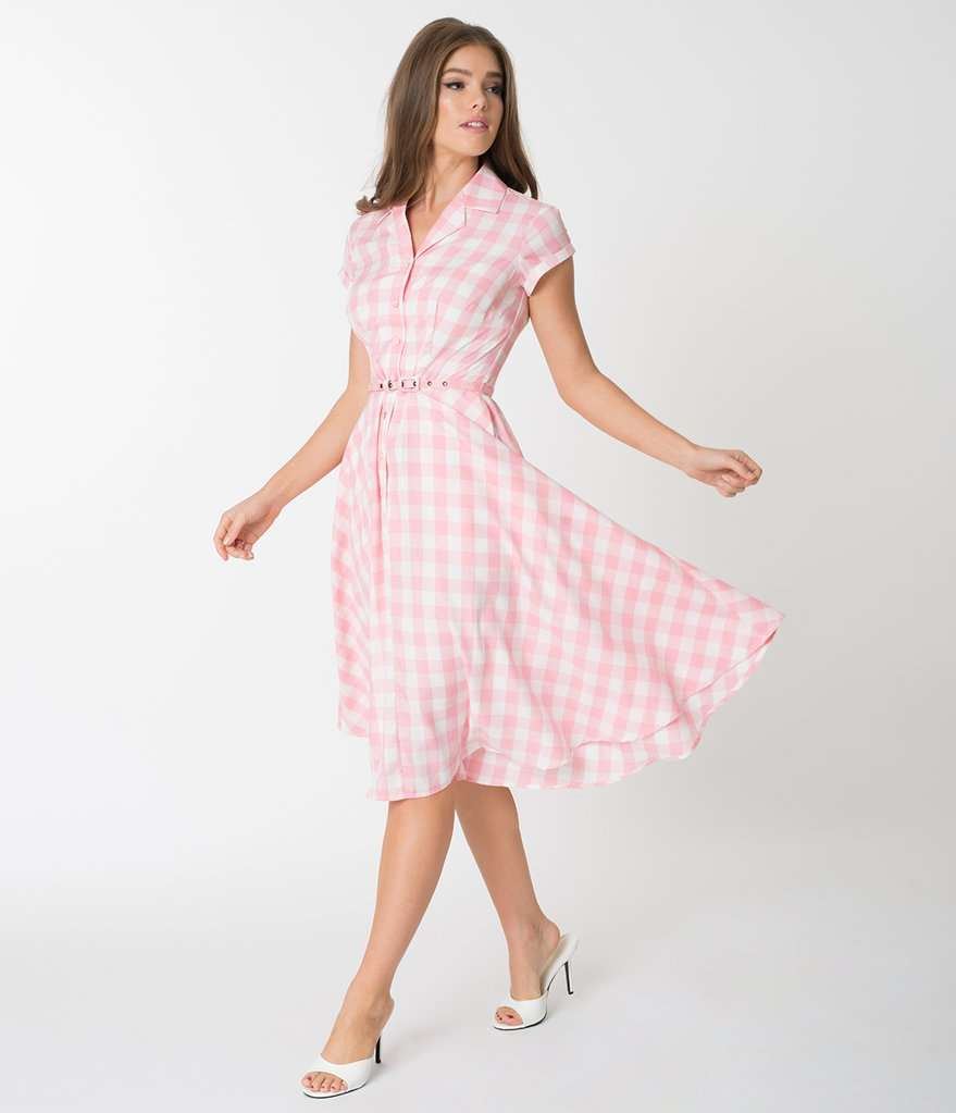long pink gingham dress