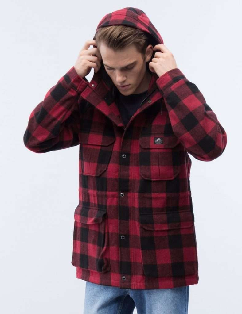 Men red buffalo plaid jacket parka
