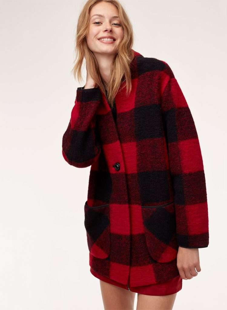 red and black long over sized buffalo parka