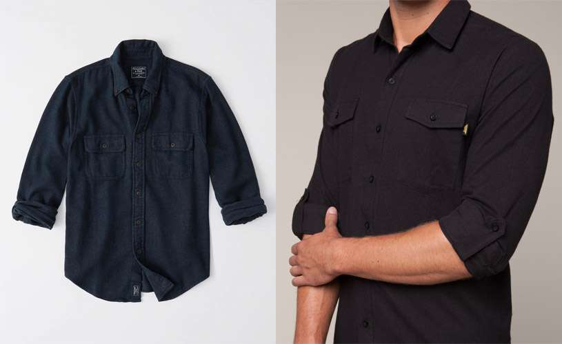 mens black and navy solid flannel shirts
