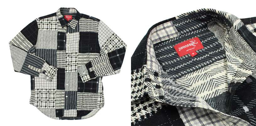 black and white printed pattern flannel shirt