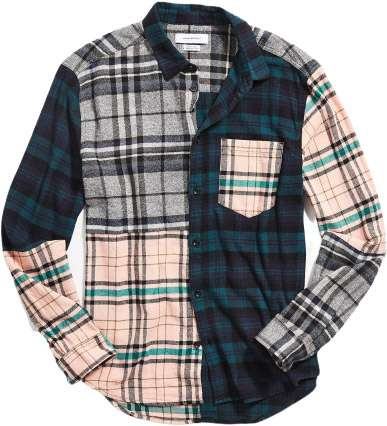 patchwork plaid flannel shirt